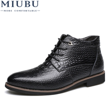 MIUBU Luxury Brand Men Winter Boots Warm Thicken Fur Mens Ankle Fashion Male Business Office Formal Leather Shoes