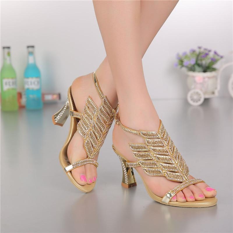 ФОТО 2016 Fashion Women sandals genuine leather high heels Rhinestone women shoes for women ladies Crystal wedding shoes GS-L006GDC