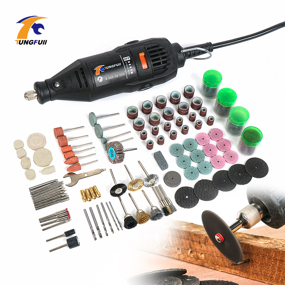 Tungfull 130W Electric Mini Drill Variable Speed Grinding tools with 161pcs Power Tools accessories Dremel Drill Tools 3000 4000 mini drill electric variable speed mini drill diy micro electric hand drill with accessories power tools for drilling