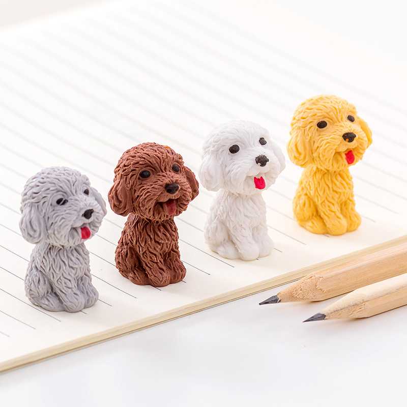 12pcs Cute Mini Teddy Dog Pencil Eraser For Kids Great Gift Creative School Correction Supplies Fashion Office Toy Erasers
