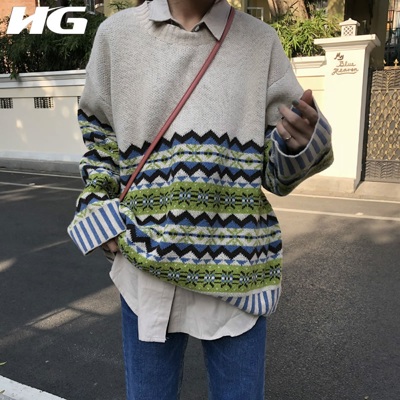 [HG] Korea Fashion New Arrival  Women Autumn O-neck Full Sleeve Knitted Sweater Female Print Pullover Casual Sweater LJT3729