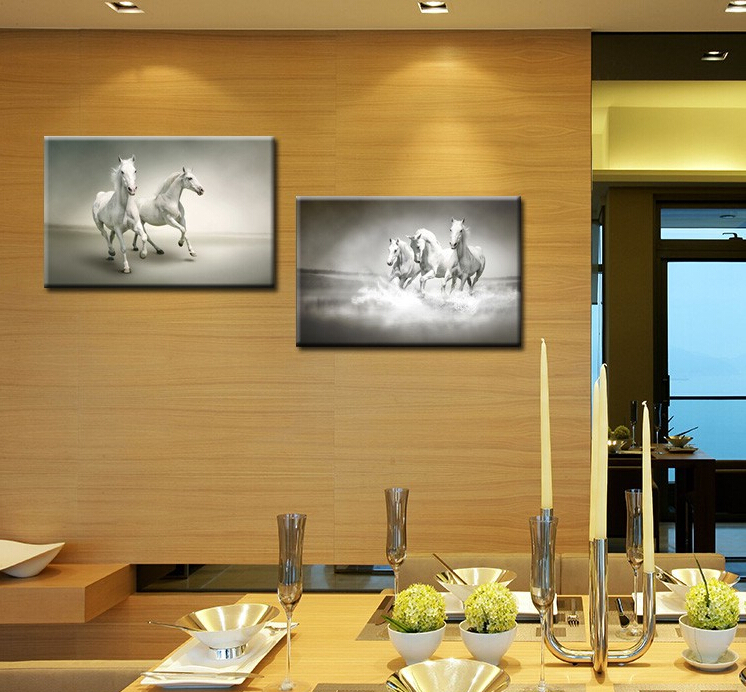 Large Galloping White Horse Wall Pictures For Living Room 2 Piece Combination Gray Art Prints Paintings Canvas Unframed Modern