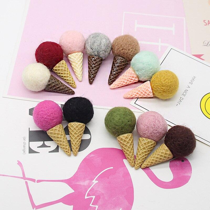 10 Pcs Ice Cream Cone Resin Flat Bottom Embellishment for DIY Hair Accessory