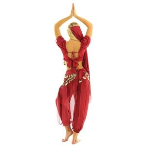 Image 5 - TiaoBug Women Halloween Carnival Stage Performance Egypt Belly Dance Costume Bollywood Indian Dancing Dress Chiffon Sari Set