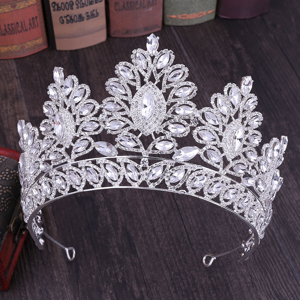 Image 2 - KMVEXO 2019 New Vintage Baroque Tiara Crowns Queen King Bride Pink Crystal Crown Pageant Bridal Wedding Hair Jewelry Accessories-in Hair Jewelry from Jewelry & Accessories
