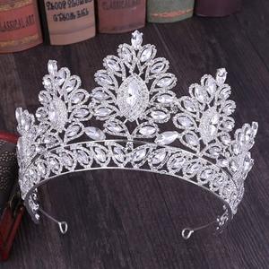 Image 2 - KMVEXO 2019 New Vintage Baroque Tiara Crowns Queen King Bride Pink Crystal Crown Pageant Bridal Wedding Hair Jewelry Accessories
