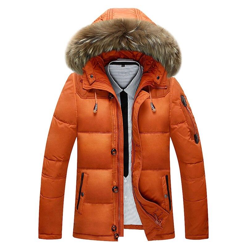 A la mode affaires décontracté 90% duvet de canard blanc doudoune homme couleur unie épais chaud gros cheveux revers homme vêtements d'hiver