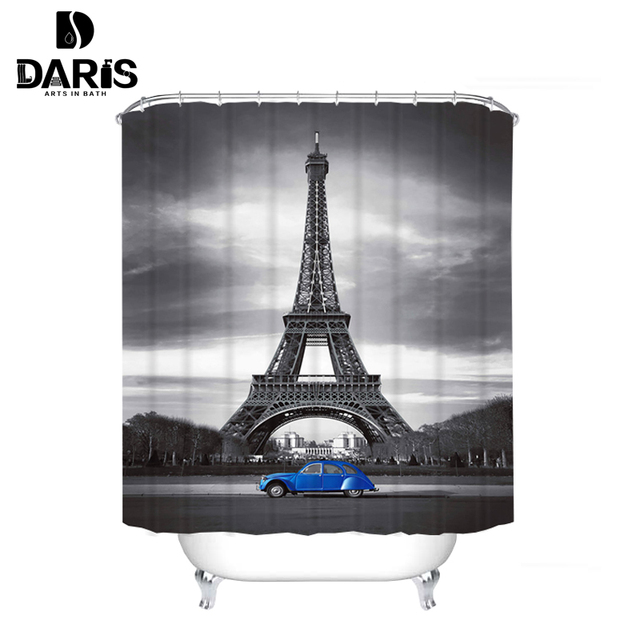 Daris Clic Eiffel Tower Shower Curtain And Blue Car Cathroom Waterproof Fabric With 12pcs