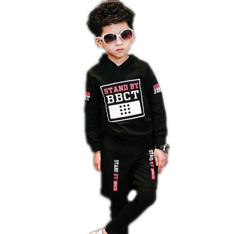children clothing set 2017 new fashion spring baby boys clothes sets letter printed hooded fleece+pants casual boys tracksuit