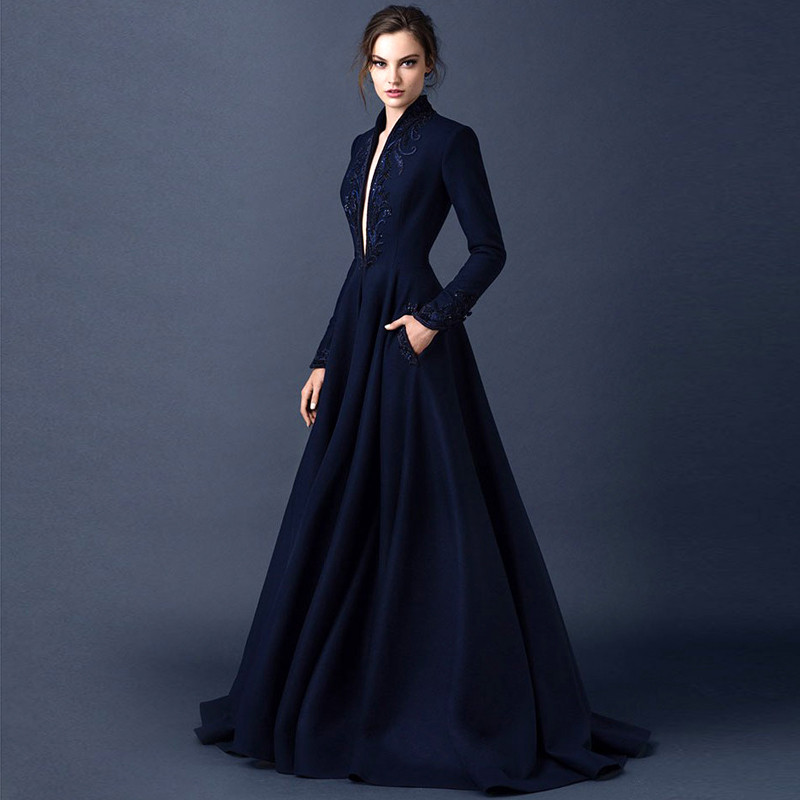 Gothic-Elegant-Long-Sleeve-Evening-Dresses-Dubai-Abaya-Navy-Blue-Arabic-Evening-Gowns-with-Sleeves-Bayan 1