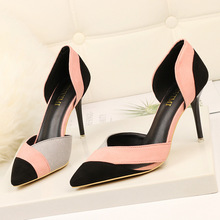Sexy women's high-heeled shoes Europe and America color matching hollow pointed stiletto heels new pumps single shoes women