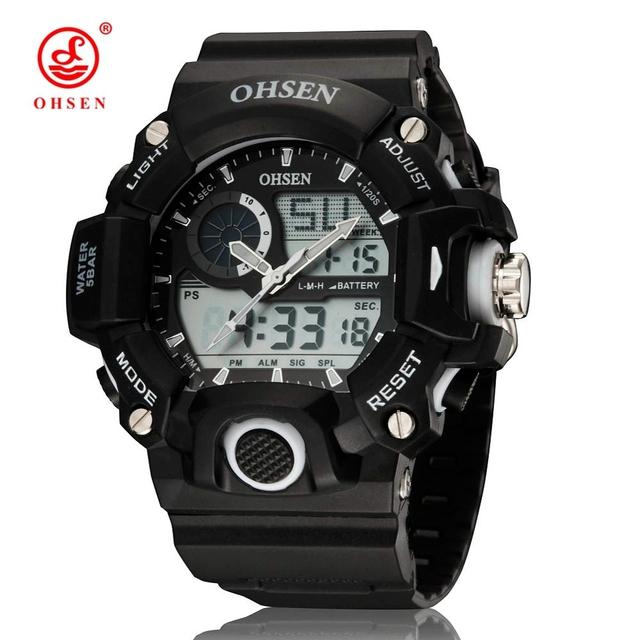 2017 nova ohsen homens multifuncionais relógios desportivos analógico digital led dual core mergulho mergulho militar relógio de quartzo relógio de pulso casual