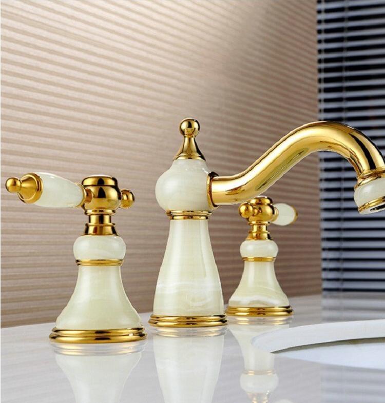Moda di lusso bagno rubinetto in ottone massiccio costruzione hot & cold finitura oro Rosa 'diffuso rubinetto del bacino lavandino del bagno rubinetto