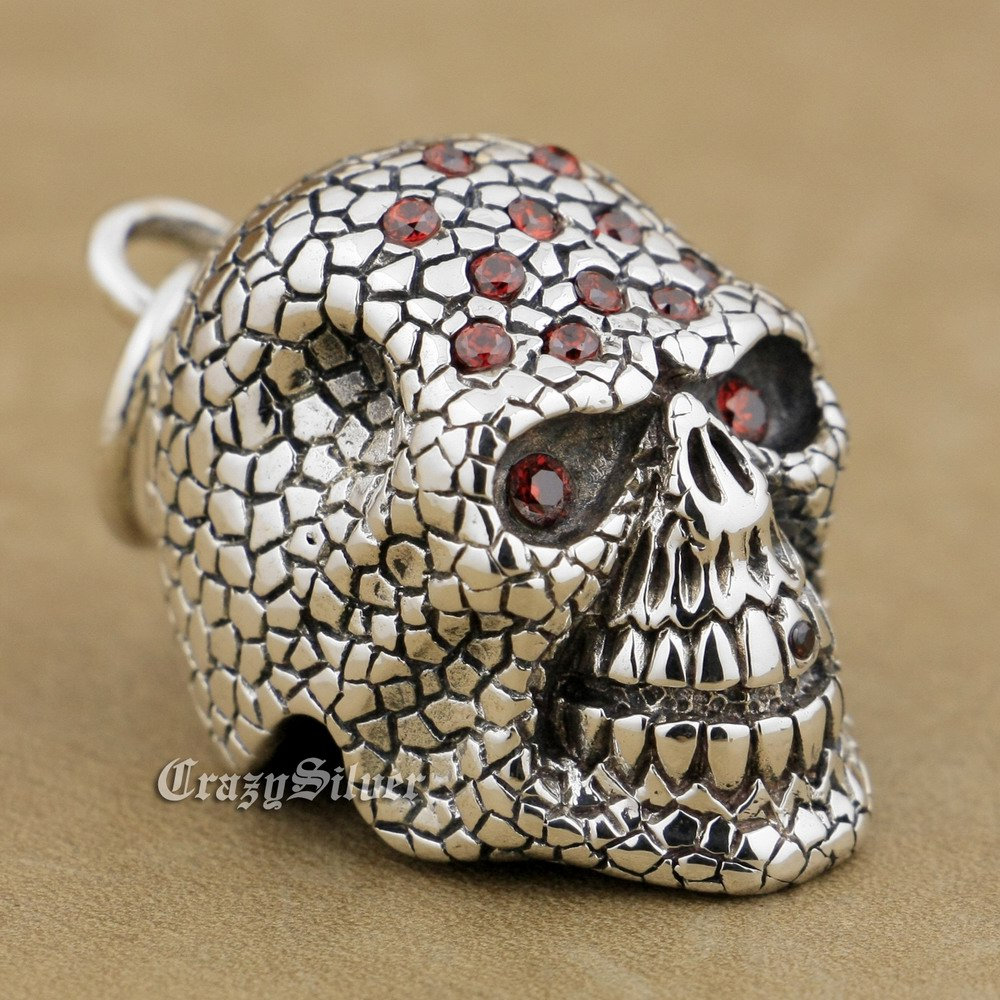 925 Sterling Silver Red CZ Stones Skull Mens Biker Rocker Punk Pendant 9S024(Steel Necklace 24inches) 925 sterling silver skull mens biker rocker punk pendant 9r009