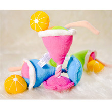 Plush Squeaky Toy Ice Cream Cup Dog Cat Chew Toy Soft Cotton Rope Pet Dog Lovely Plush Toy