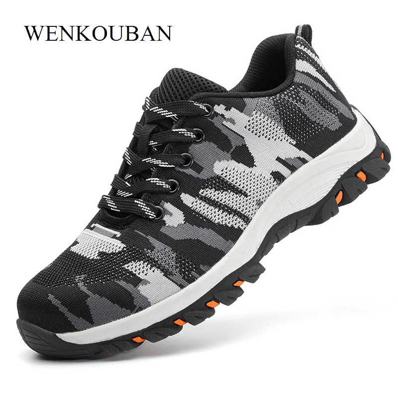 New Steel Toe Shoes Men Winter Boots Breathable Safety Shoes Lace Up Work Boots for Man Ankle Boats Camouflage Zapatos De Hombre цена 2017