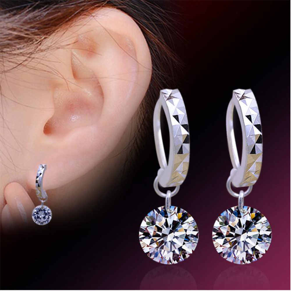 Anenjery 925-sterling-silver Earrings pendientes Zircon Pendant Drop Earrings For Women brincos Boucle d'oreille oorbellen S-E29