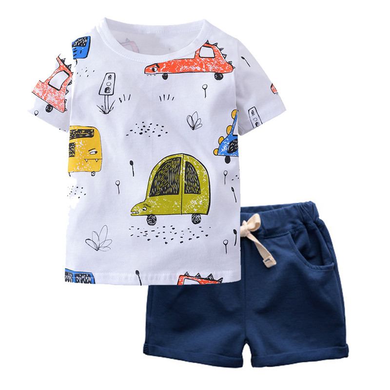BINIDUCKLING Boys Cotton Short Sleeve Shirt Shorts 2 Pieces Children Summer Clothing Set