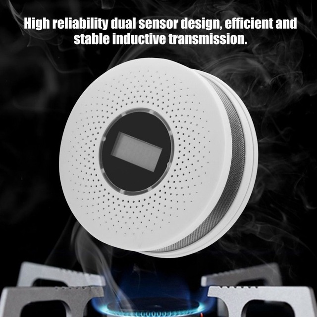 CO Carbon monoxide smoke integrated alarm Detector Voice Warn Sensor Home Security Protection High Sensitive 2 IN 1 LCD
