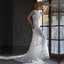 Fashion Weiße Blumen Spitze Formales Kleid Romantische See-through Boot-ausschnitt Hohlkreuz Abendkleider 2016 Vestidos de Noite