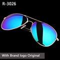 2017 crystal  glass lens classic sunglasses men women uv400 brand feminin oculos vintage aviation Glasses with original box