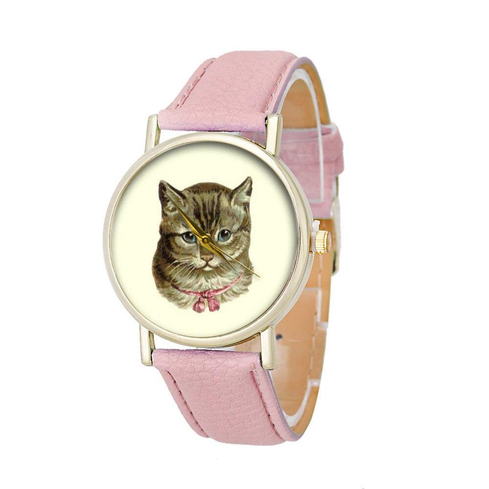 Women Watch Hot Sale Cat Pattern Watches Elegant Analog Luxury Sports Leather Strap Quartz Vogue Wrist Watch Fashion PU Stylish