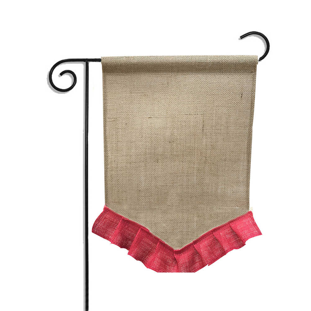 Garden Flag Jute Celebration Yard Flags Decorative House Banner Flags for Party Holiday Decoration (Red)