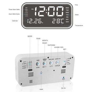 Großes Gesicht Uhren | LED Digital Große Anzahl Display Wecker Spiegel Uhr Temperatur Schläfrig Hause Dekoration Elektronische Nixieröhren Uhr USB Ladung
