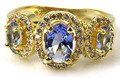 6.5# Rich Blue Violet Tanzantie, CZ SheCrown Woman's Wedding Created  Gold Silver Ring 19x10mm