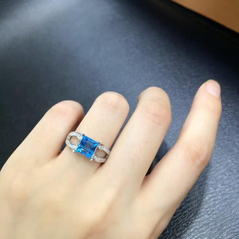 Anillos Qi Xuan_Blue Stone Fashion Jewelry Rings_Finger Rings_S925 Solid Sliver Blue Stone Rings_Manufacturer Directly Sales 2017 anillos jewelry qi xuan
