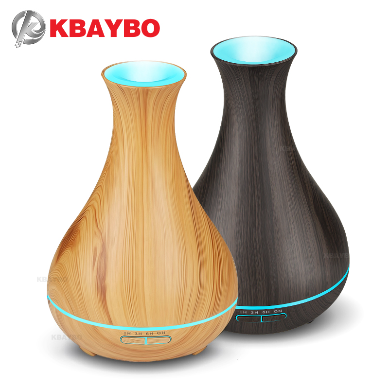 550ml Electric Aroma Essential Oil Diffuser wood Ultrasonic air humidifier cool mist maker fogger with 7 color LED night light