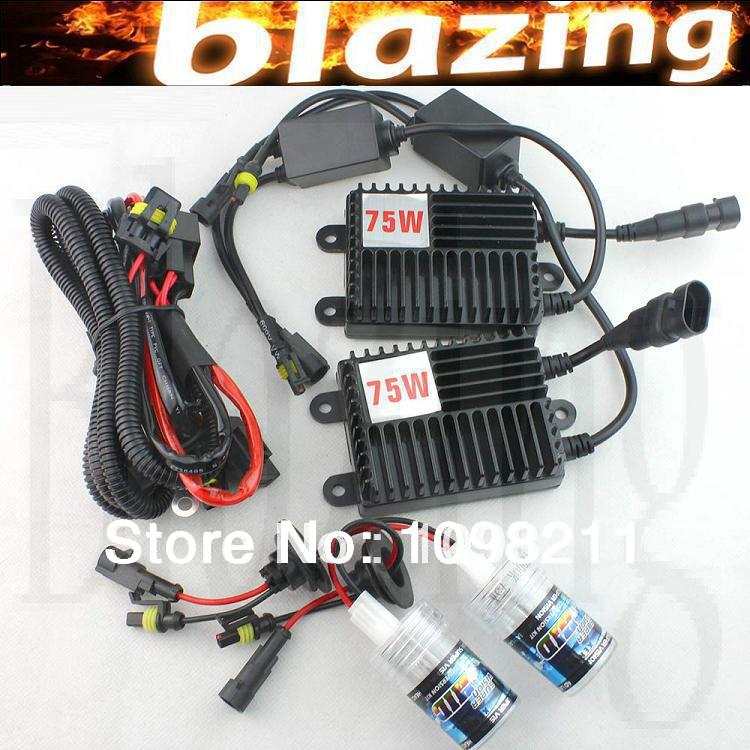 75W 12V HID XENON CONVERSION KIT Car Light H1 H3 H7 H8 H9 H10 H11 880 881 9005 9006 HB3 HB4 4300K-12000K 1 pair 12v 55w car xenon hid bulbs h1 h3 h7 h8 h9 h11 9005 hb3 9006 hb4 880 881