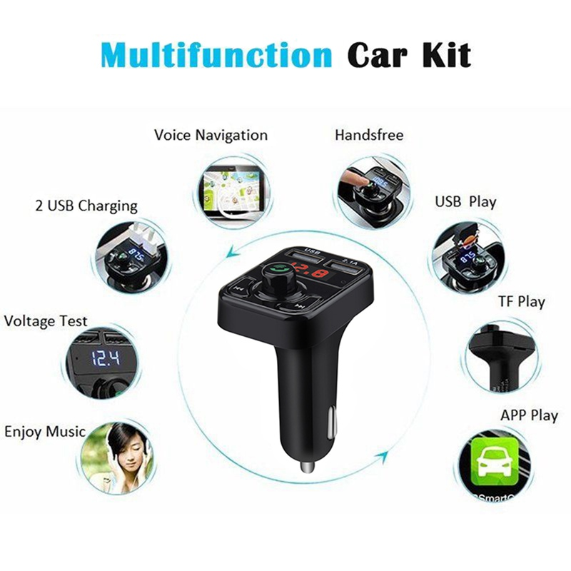 VicTsing Bluetooth MP3 Player FM Transmitter Handsfree Wireless Radio Adapter USB Car Charger 2.1A MP3 Player SD Music Playing   (9)