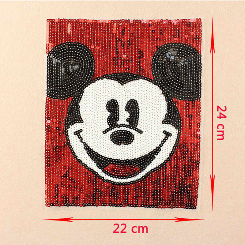 24 cm 만화 미키 장식 조각 패치에 수 놓은 바느질 paillette applique 배지 가방 의류 패브릭 봉제 공예 diy