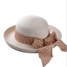 Korean version of the classic dot big silk bow wearing a wide brimmed hat female summer