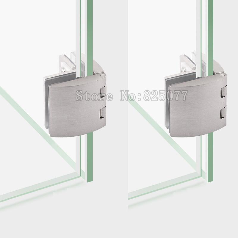 8pcs Brushed Zinc Alloy Arc Bilateral Glass Hinge Showcase Glass