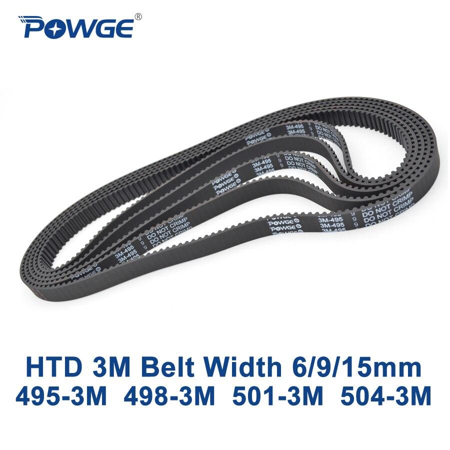 Powge HTD 3 M Correa c = 495 498 501 504 ancho 6/9/15mm dientes 165 166 167 168 HTD3M síncrono 495-3 m 498-3 m 501-504-3 m 3 m