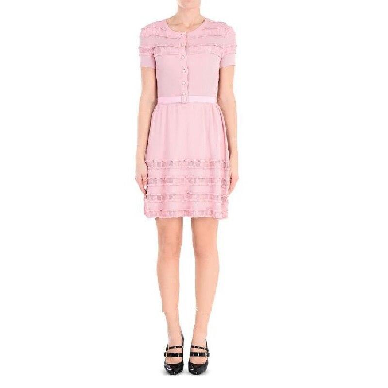 Summer Sweet Black Pink Pearls Knitted Dress Women 2018 Spring Short Sleeve Belt Party Dresses Short A Line Sweater Vestidos женское платье summer dress 2015cute o women dress