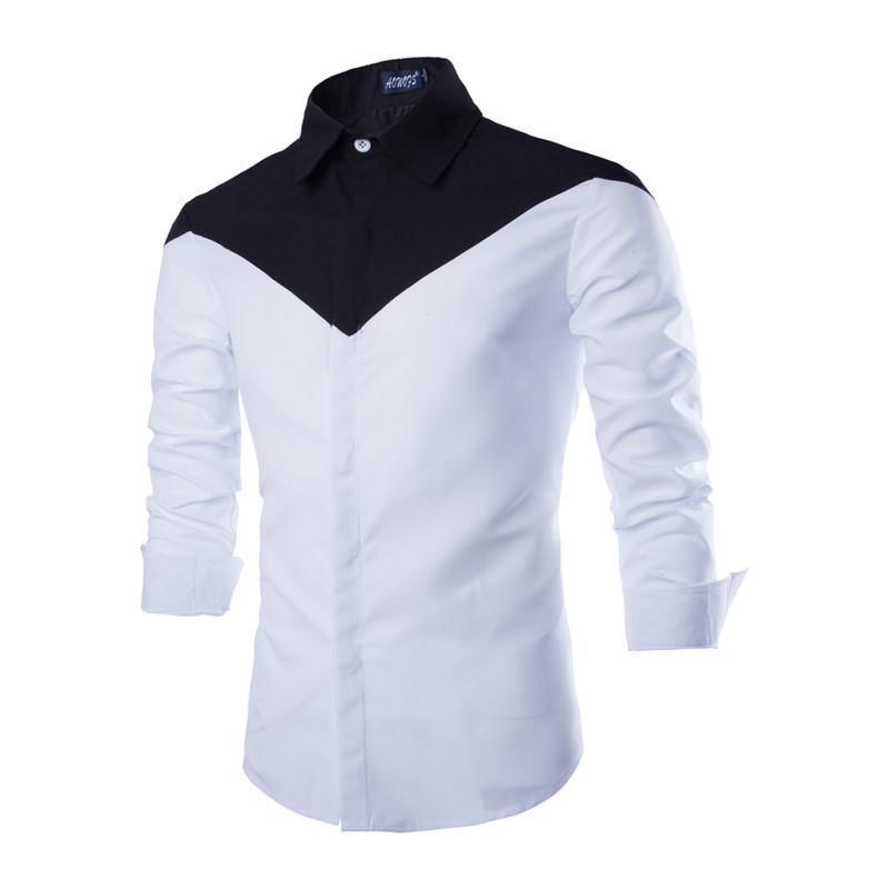 New arrival classic black & white color matching slim fit shirts ...