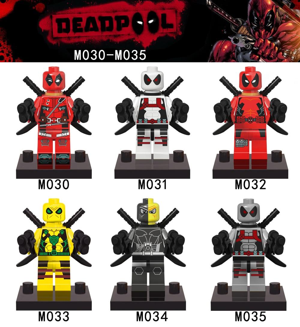 2016 New Super Eroi Deadpool Serie Set 6 pz/set Regalo Dei Bambini giocattoli Mattoni Da Costruzione Blocchi