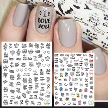 Newest CA-499 500 3d nail sticker Colorful lettering decal decoration design
