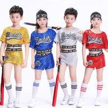 Niños Niñas porristas baile moderno Jazz Hip Hop Dance trajes Sequined  competencia baile ropa Tops pantalones 9cc077f4cc9