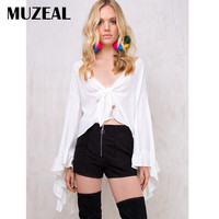 MUZEAL V Neck Flare Long Sleeve Woman Crop Top Chiffon Blouse Front Open Bow Night Club
