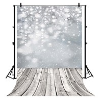 5x7ft Snowflake Glitter Spots Wood Floor Polyester Photo Background Portrait Backdrop