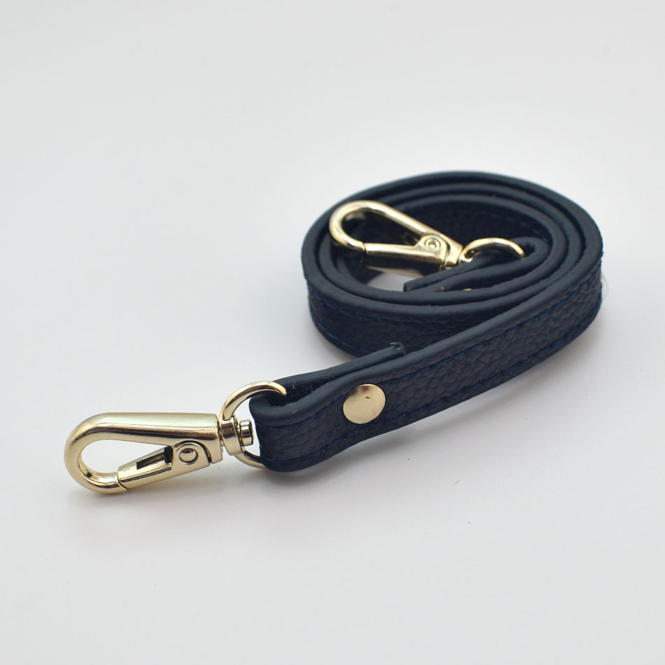55cm Detachable Handle Replacement Bags Strap For Women Girls Genuine Leather Shoulder Bag Accessories Gold Buckle Belts Navy