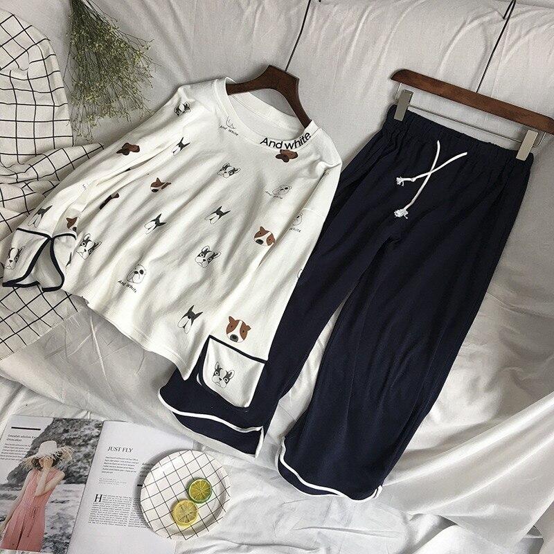 Image 3 - New 100% Cotton Long Sleeved Ladies Pajamas Set Pyjamas for Women Pijama Mujer Cartoon Dog Print Sleepwear Homewear NightgownPajama Sets   -