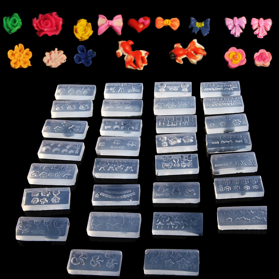 Whole 30pcs Set 3d Crystal Flower Acrylic Nails Carving Mold Nail Art Sting Template Plates Decoration Silicon Tools New In Templates From