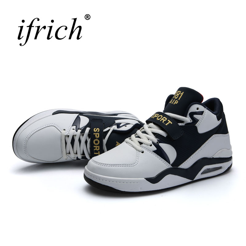 Ifrich New Big Size 38-46 Mens Basketball Shoes Air Cushion Mens Training Shoes Black White Comfortable Basketball Boots