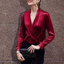 2019 Spring Women Fashion Blouse Shirt Long Sleeve Solid Color Sexy V-neck Shirt Blouse Top Streetwear Women Blouses Clothes