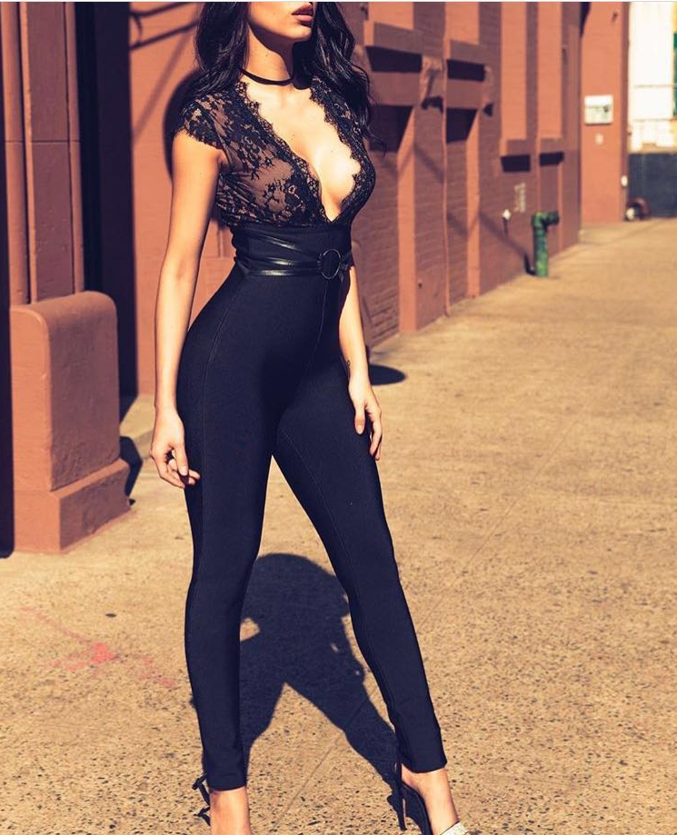 High Quality Black Lace V-Neck Bodycon Rayon Bandage   Jumpsuit   Evening Party Bodycon   Jumpsuit